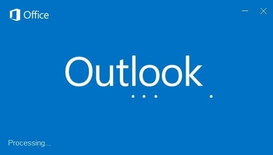Outlook 2016 hangs at processing starting loading profile