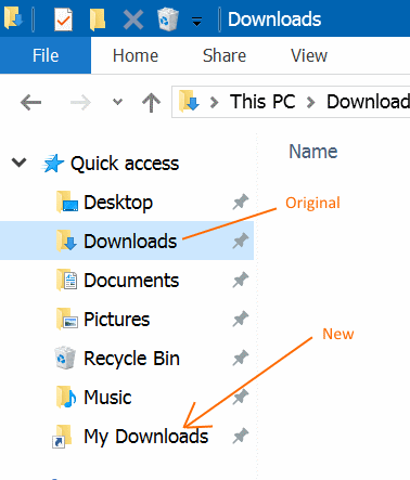Rename Quick Access folders in Windows 10 step5