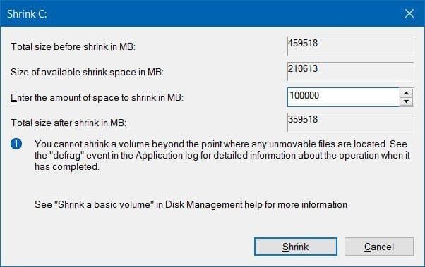 Shrink volume or partition in Windows 10 (3)
