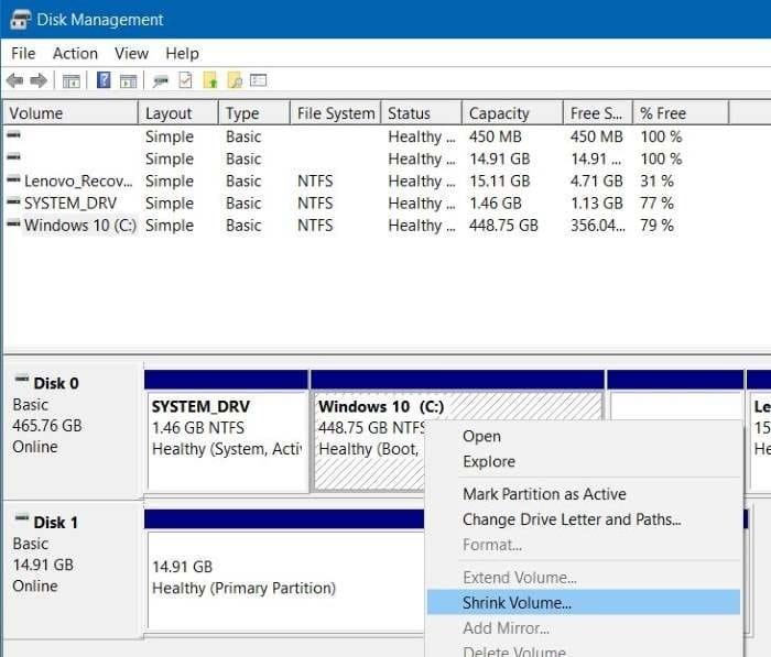 Shrink volume or partition in Windows 10 step1