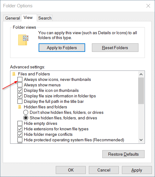 Thumbnails now showing in Windows 10 file explorer step4