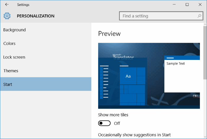 add another column to Start menu in Windows 10 step3