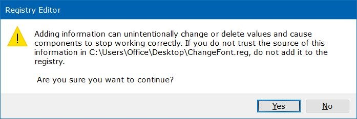 change the default font in Windows 10 step1