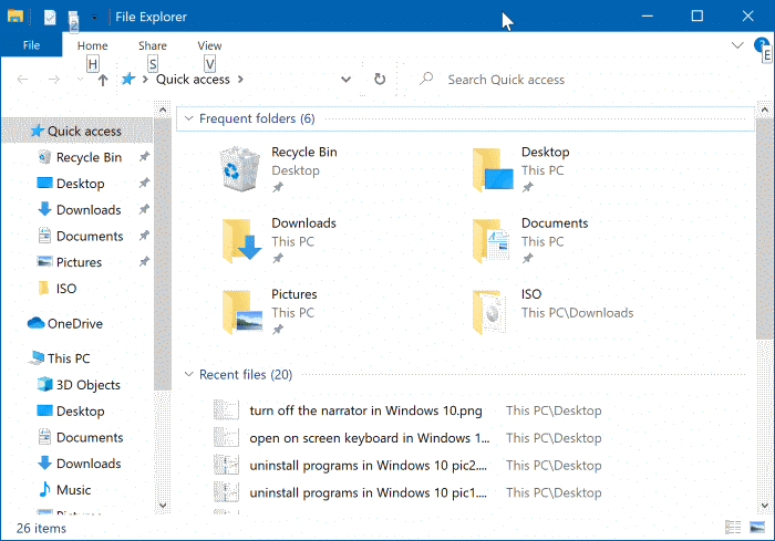 clear file explorer history in Windows 10