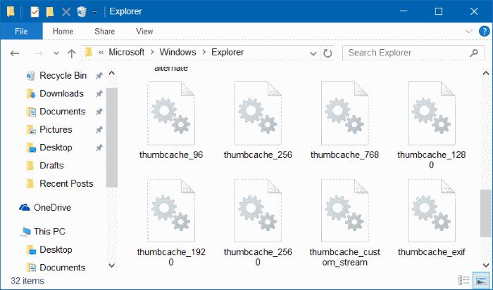 clear thumbnail cache in Windows 10