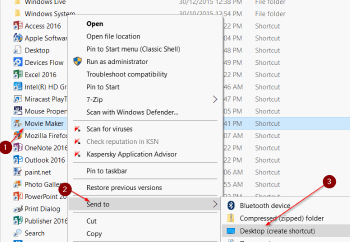create desktop shortcut to program in Windows 10 step5