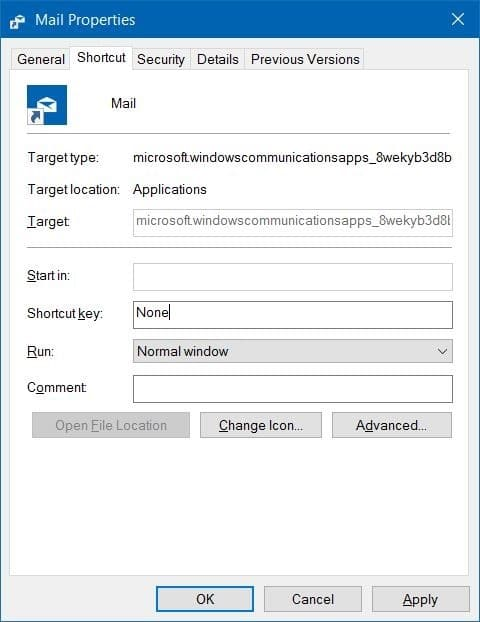 create keyboard shortcuts to open apps in Windows 10 step3