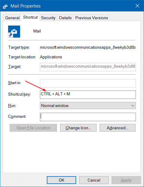 create keyboard shortcuts to open apps in Windows 10 step4