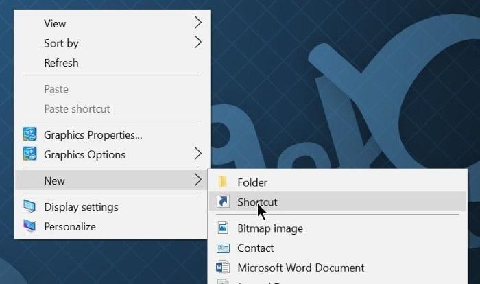 create shut down, hibernate, sign out shortcut on desktop Windows 10 step1