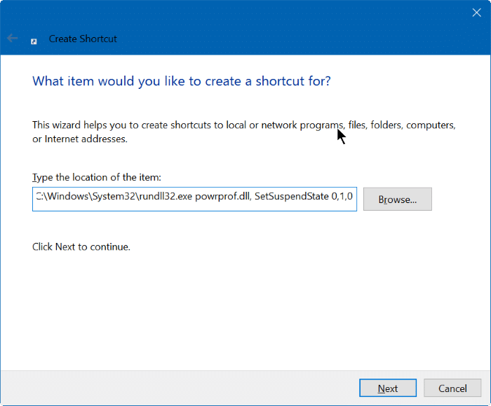 create shut down, hibernate, sign out shortcut on desktop Windows 10 step2