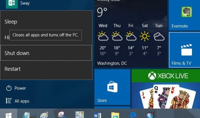 Keyboard Shortcut To Shut Down Or Hibernate Windows 10