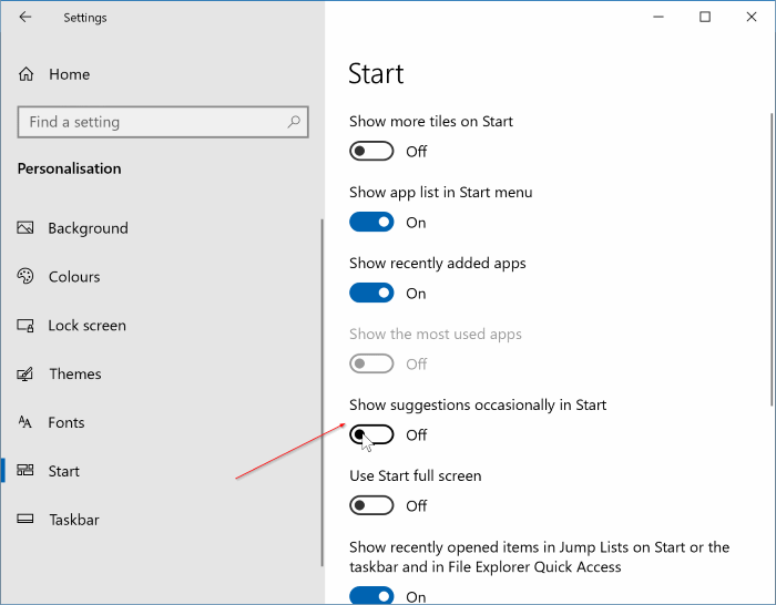 show app suggestions on Windows 10 Start