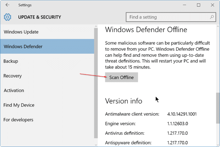 use Windows defender offline scan in Windows 10 step3