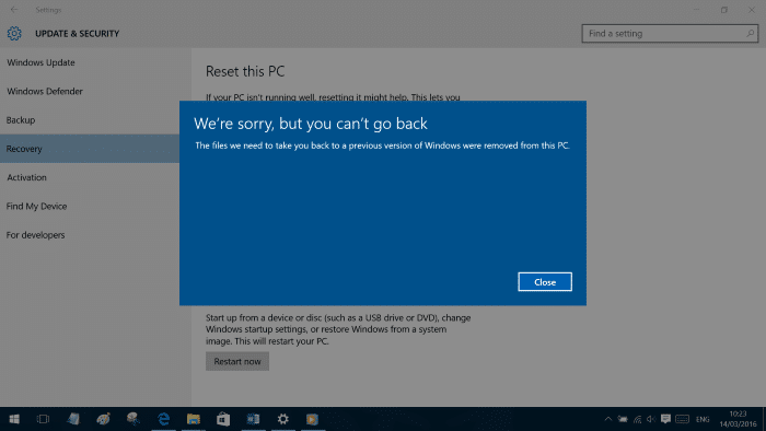 we are sorry but we can't go back in Windows 10
