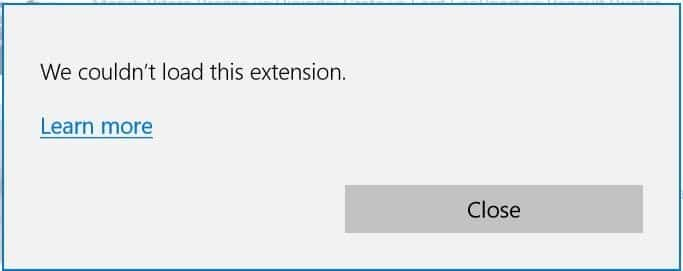 we could not load this extension error
