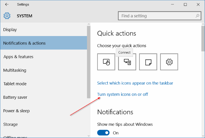 wireless icon missing from taskbar in Windows 10 step3