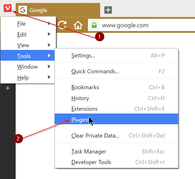 Enable or disable Adobe Flash Player in Vivaldi Browser step1