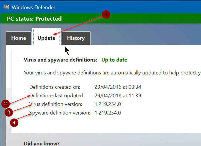 How To Manually Update Windows Defender In Windows 10