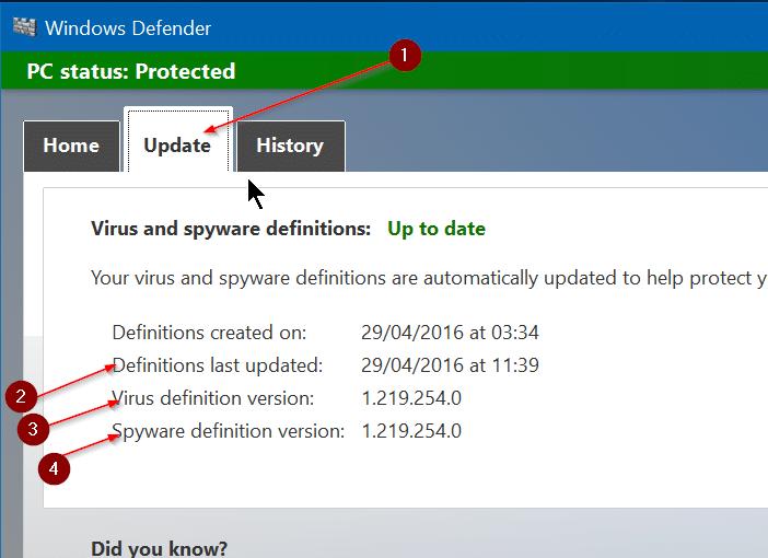 Manually update Windows Defender in Windows 10 Step2