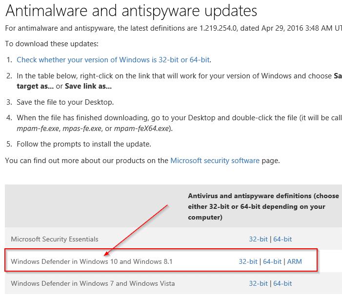 Manually update Windows Defender in Windows 10 Step3