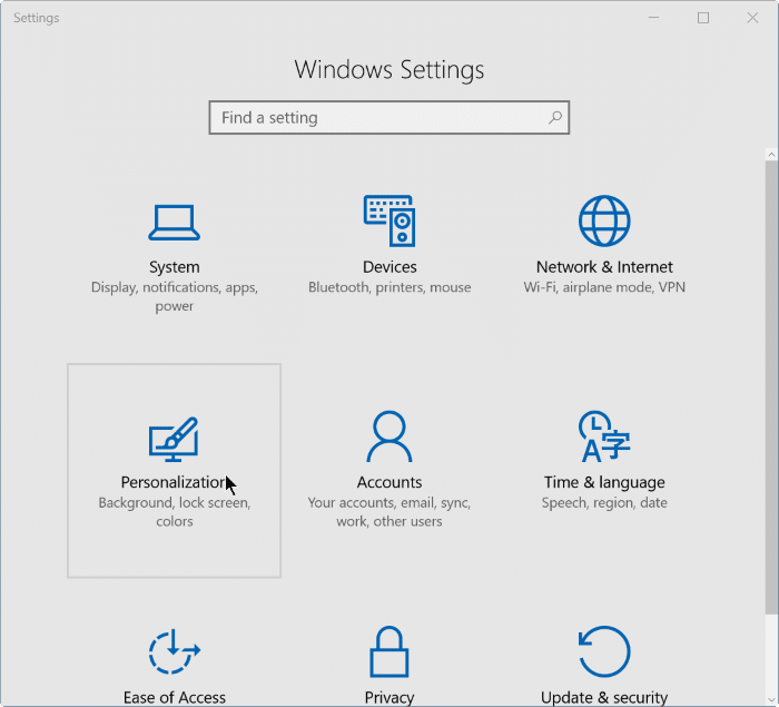 how to change idons in settings in windows 10