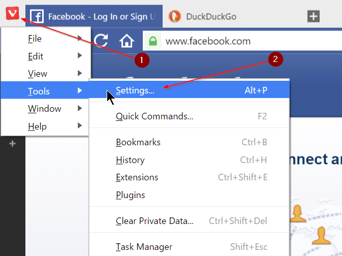 Turn off colored tabs and address bar in Vivaldi browser step1