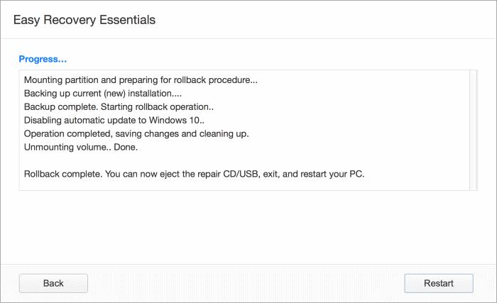 Windows 10 rollback utility
