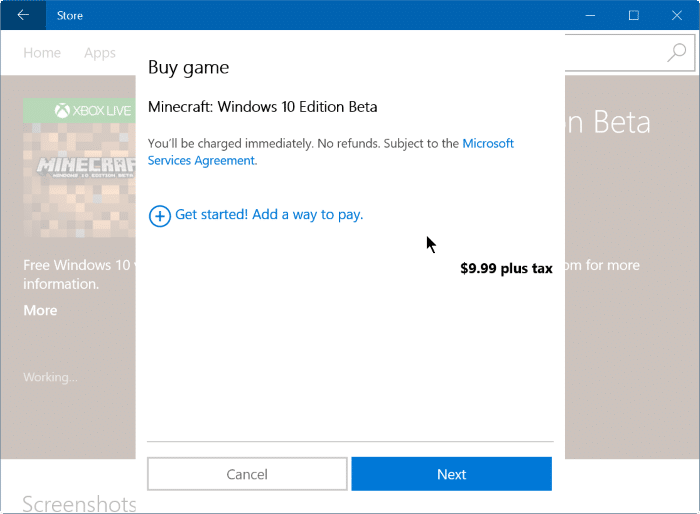 buy apps and games using mobile phone balance in Windows 10 step4