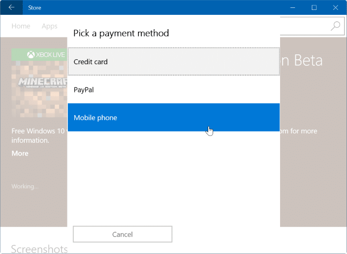 buy apps and games using mobile phone balance in Windows 10 step5