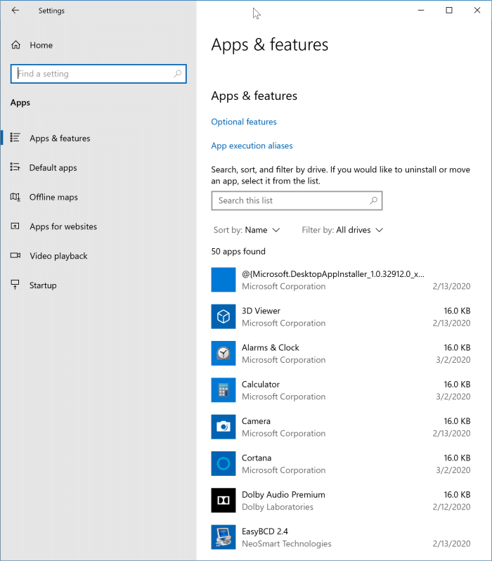 check installation date of apps and programs in Windows 10 pic1