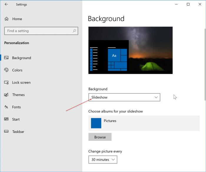 Desktop Slideshow Not Working In Windows 10