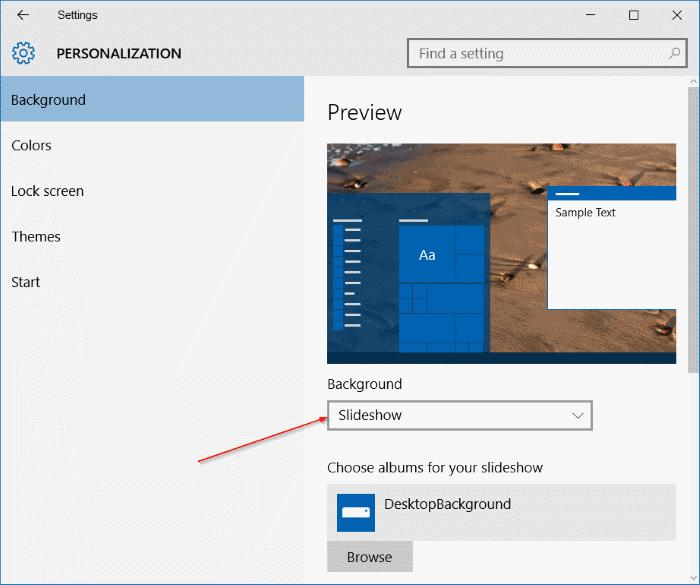 desktop slideshow not working Windows 10 step1