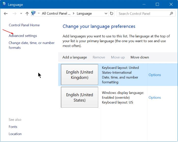 how to show language in taskbar windows 10