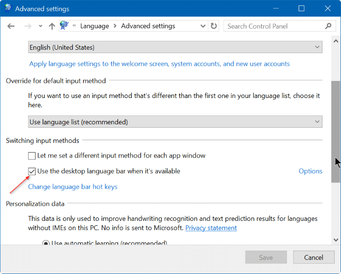 How To Enable Or Disable The Language Bar In Windows 10