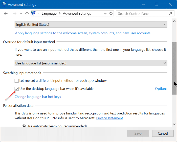 enable or disable language bar in Windows 10 step4