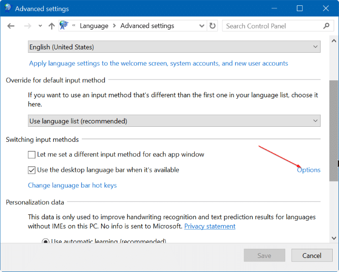 enable or disable language bar in Windows 10 step5