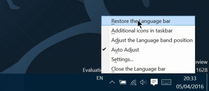 enable or disable language bar in Windows 10 step9