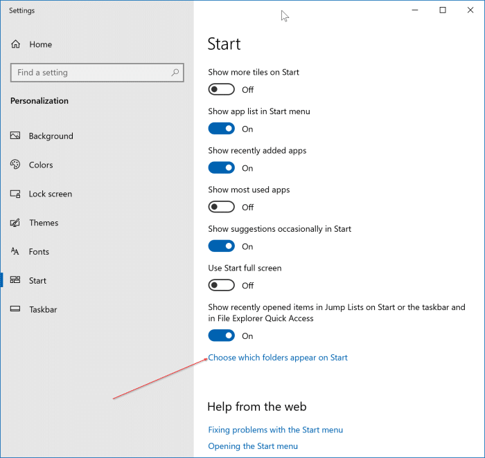 file explorer icon missing from start pic1