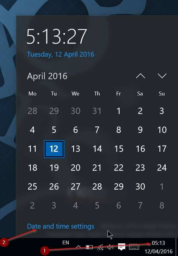 fix incorrect date and time in Windows 10 step1