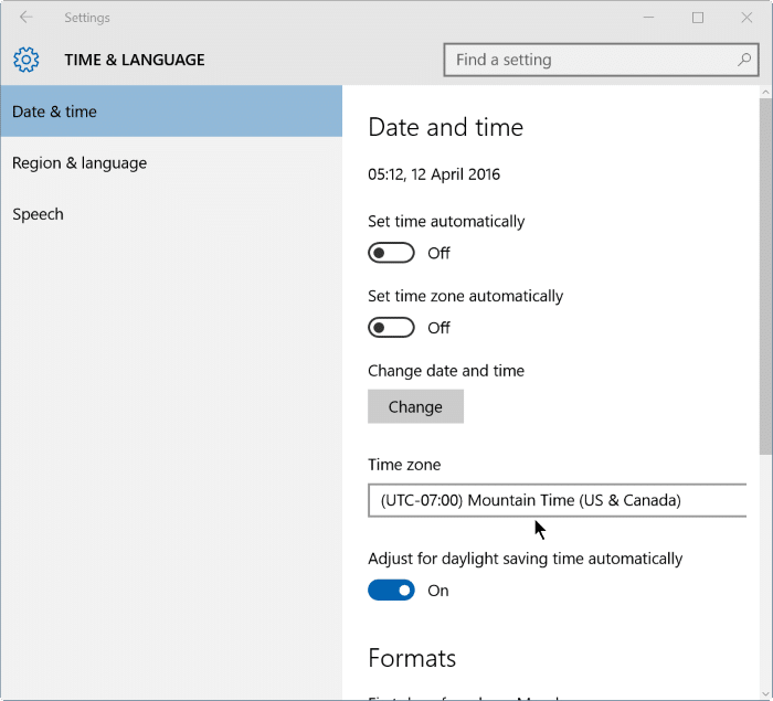 fix incorrect date and time in Windows 10 step2
