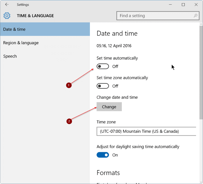 fix incorrect date and time in Windows 10 step8