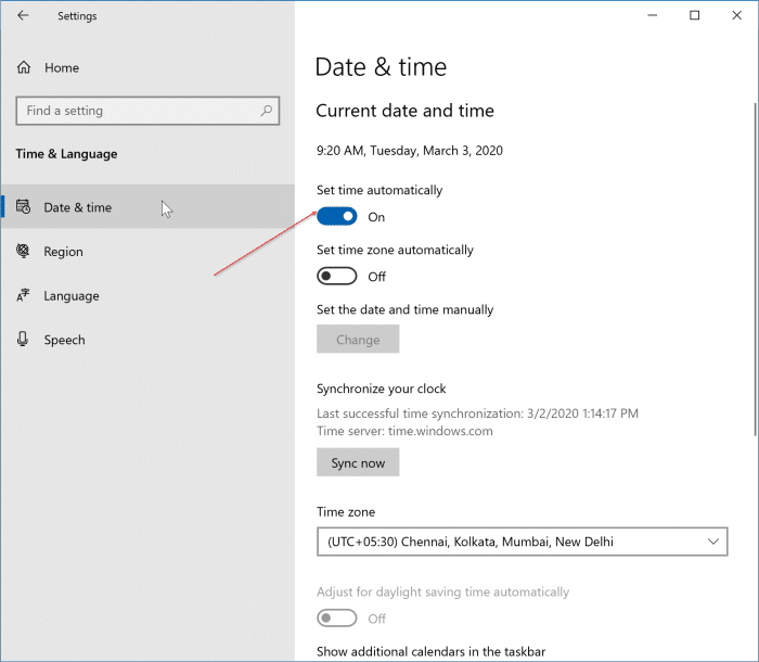 incorrect date and time in Windows 10 pic2