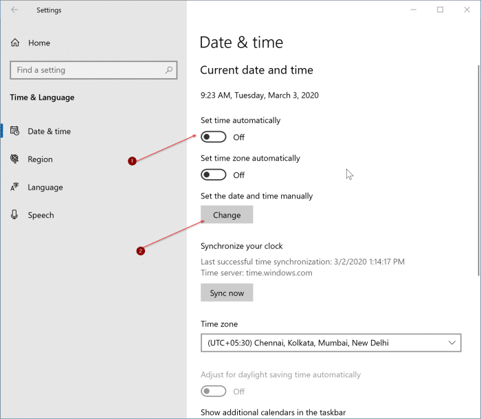 incorrect date and time in Windows 10 pic3