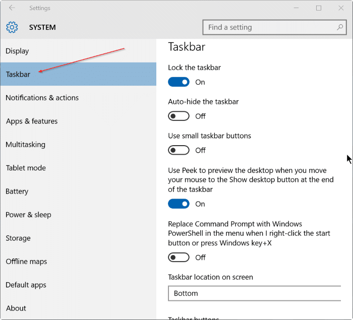 how to change task bar with windows 10
