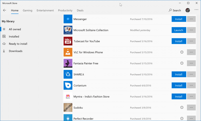 reinstall apps and games purchased from Store in Windows 10 pic1