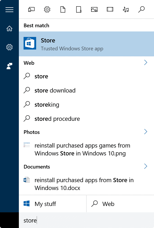 reinstall purchased apps games from Store in Windows 10 step1