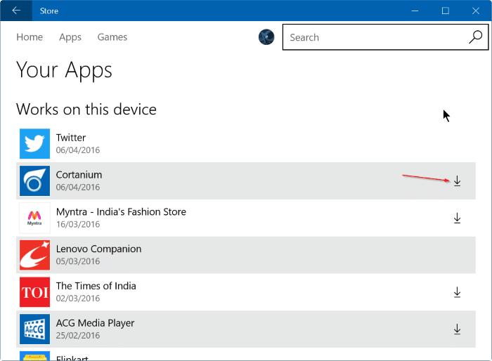 reinstall purchased apps games from Store in Windows 10 step4