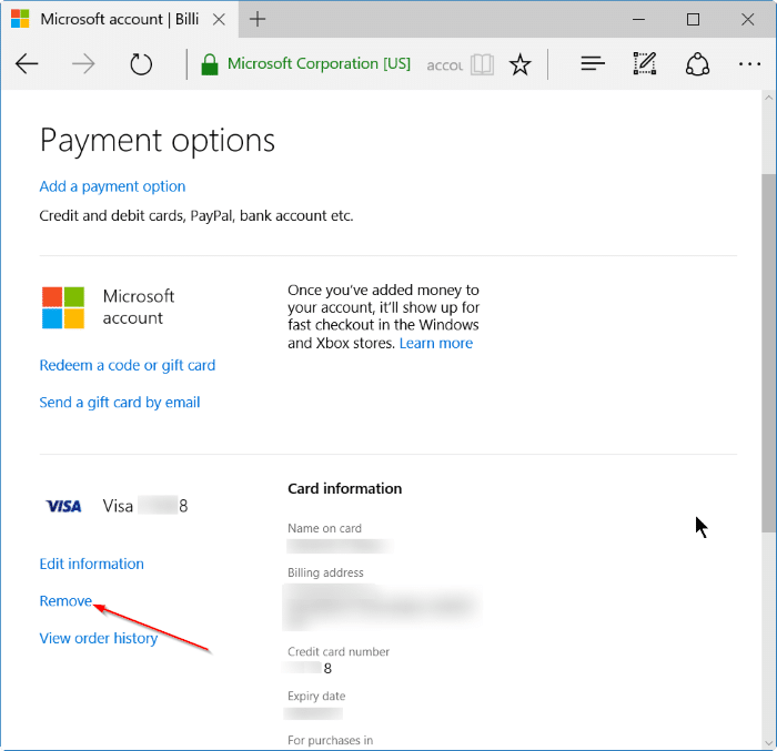 remove credit card info from Store in Windows 10 step5