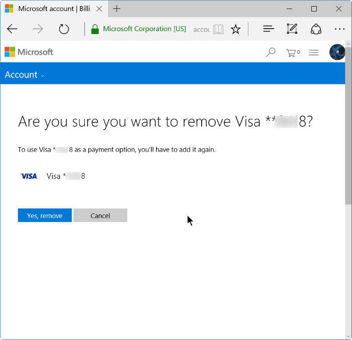 remove credit card info from Store in Windows 10 step6
