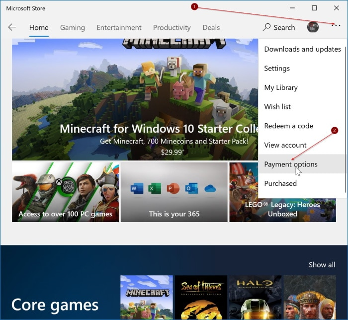remove saved credit card information from Windows 10 Store